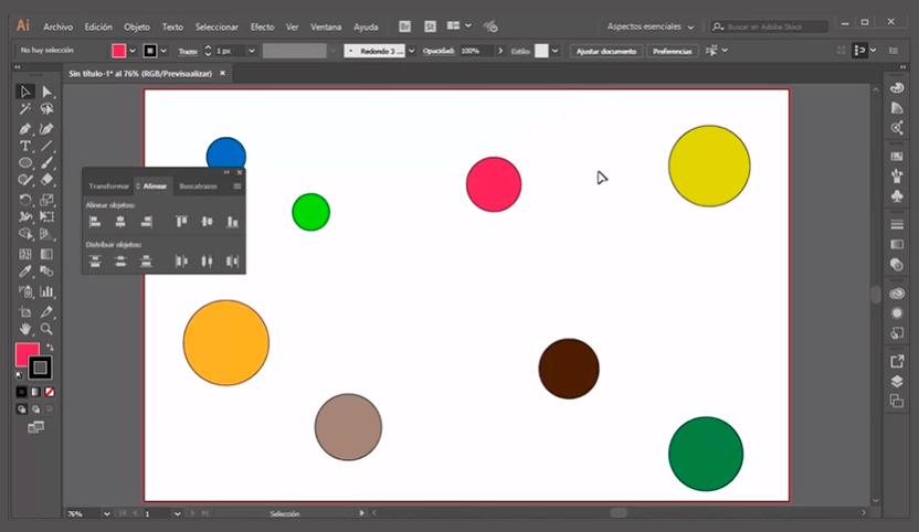 cómo alinear objetos en adobe illustrator